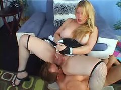Shemale domme gets blowjob from guy